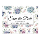 Elegant Vintage Succulent Floral Save the Date Postcard