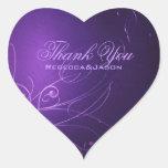 elegant vintage swirls purple wedding thank you heart sticker