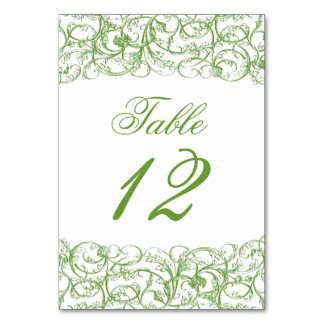 Elegant vintage swirls table number card