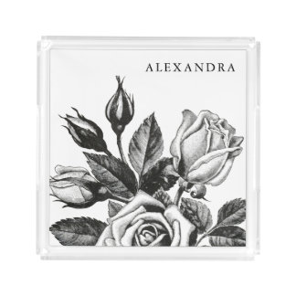 Elegant Vintage Tea Roses | Black and White Acrylic Tray