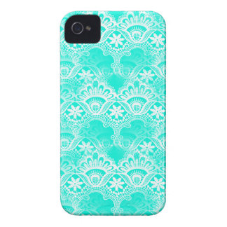 Elegant Vintage Teal Turquoise Lace Damask Pattern iPhone 4 Cases