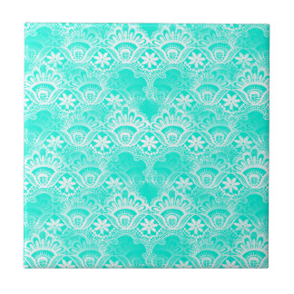 Elegant Vintage Teal Turquoise Lace Damask Pattern Tile