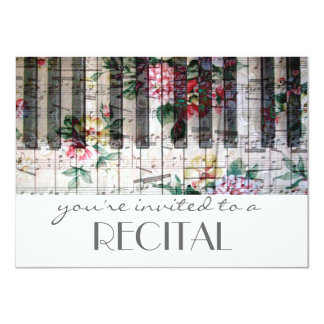 elegant vintage trendy girly music recital 11 cm x 16 cm invitation card