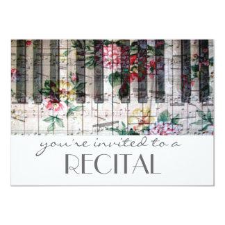 elegant vintage trendy girly music recital card