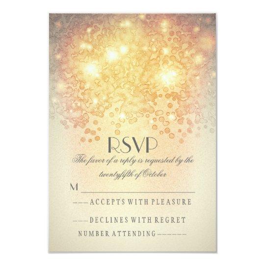 Elegant vintage twinkle lights wedding RSVP cards