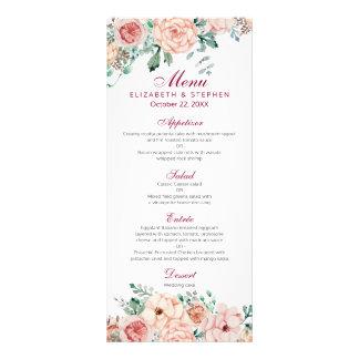 Elegant Vintage Watercolor Floral Wedding Menu Customized Rack Card