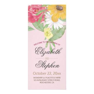 Elegant Vintage Watercolor Floral Wedding Program Custom Rack Card