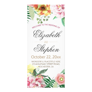 Elegant Vintage Watercolor Floral Wedding Program Custom Rack Card