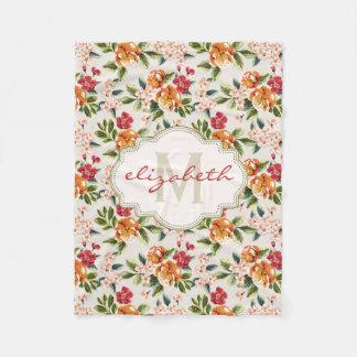 Elegant Vintage Watercolor Flowers Monogrammed Fleece Blanket
