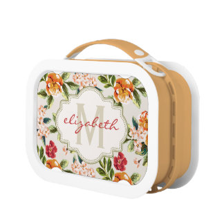 Elegant Vintage Watercolor Flowers Monogrammed Lunch Box