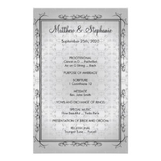"elegant vintage Wedding Program Flyer 5.5"" x 8.5"""
