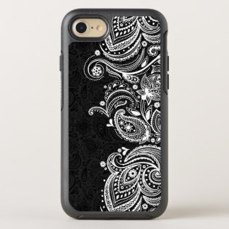Elegant Vintage White & Black Paisley Lace OtterBox Symmetry iPhone 8/7 Case
