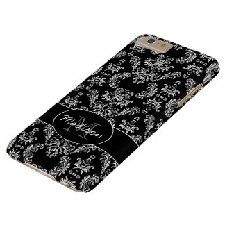 Elegant vintage white damask Black Monogram Barely There iPhone 6 Plus Case