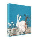 Elegant Vintage White Rabbit Canvas Print