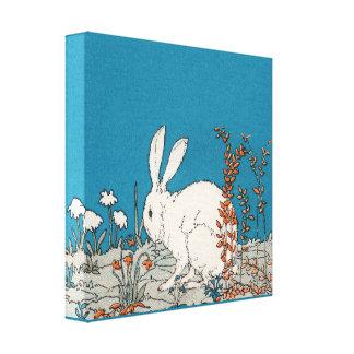Elegant Vintage White Rabbit Canvas Print