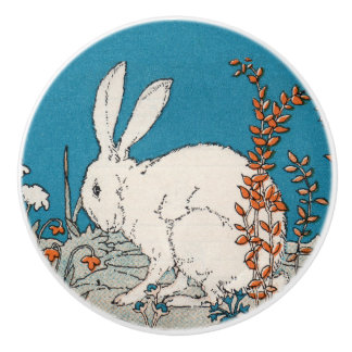 Elegant Vintage White Rabbit Flowers Ceramic Knob