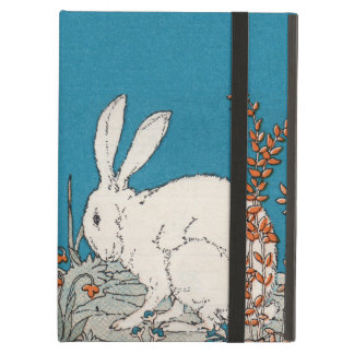 Elegant Vintage White Rabbit Flowers iPad Air Cover