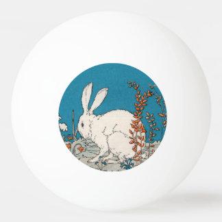 Elegant Vintage White Rabbit Flowers Ping Pong Ball