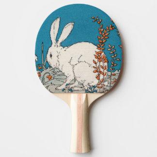 Elegant Vintage White Rabbit Flowers Ping Pong Paddle