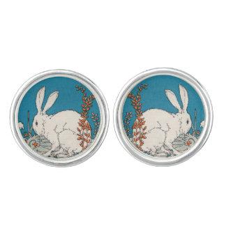 Elegant Vintage White Rabbit Flowers Cufflinks