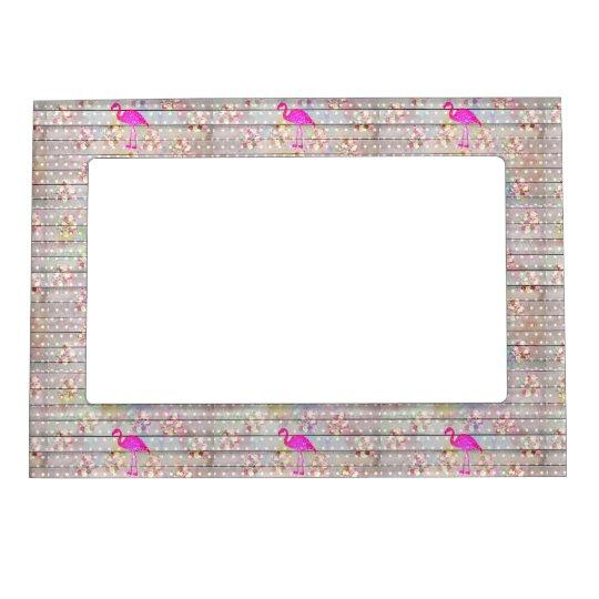 Elegant Vintage Wood Floral Flamingo Glitter Print Magnetic Picture Frame