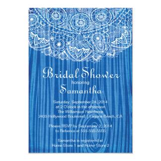 Elegant Vintage Wood Lace Bridal Shower Invitation