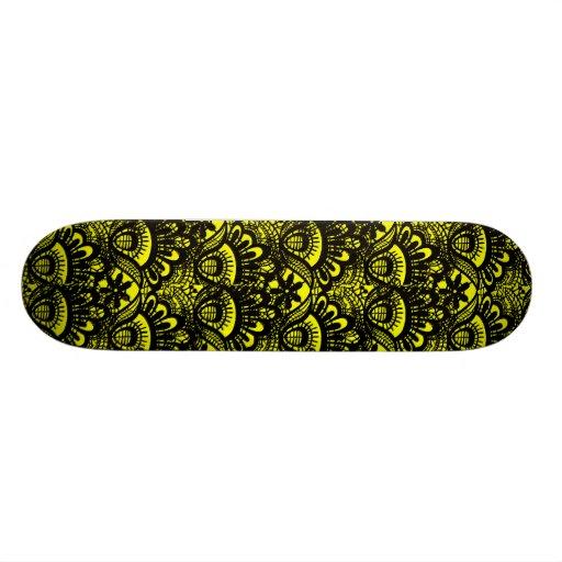 Elegant Vintage Yellow Black Damask Lace Pattern Skate Boards