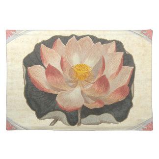 Elegant Vintage Yoga Lotus Blossom Peach Damask Place Mat