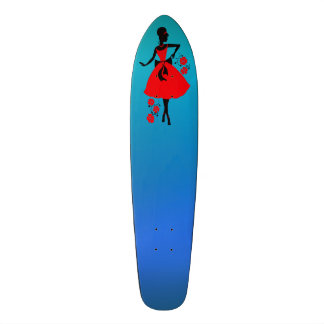Elegant vintage young woman red black silhouette skateboard