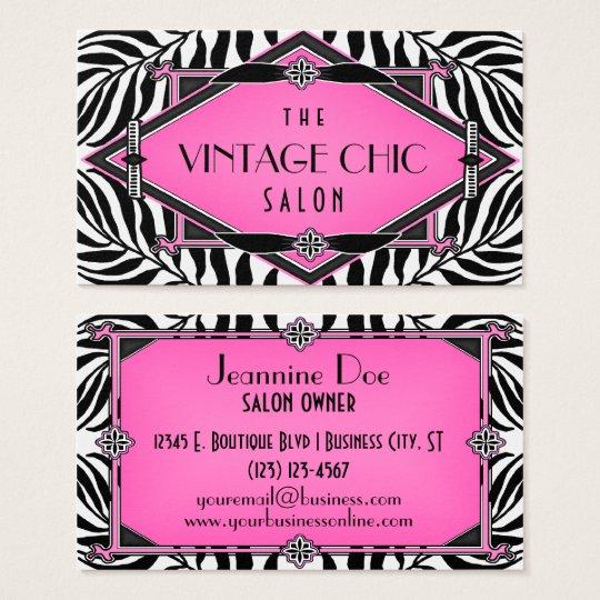 Elegant Vintage Zebra Art Deco Pink Diamond Business Card