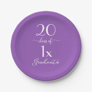 Elegant Violet Class Of [YEAR] Graduate Typography Paper Plate