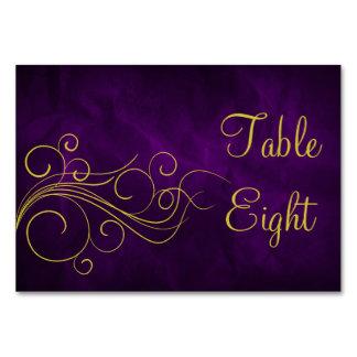 Elegant Violet Gold Swirl Table Cards