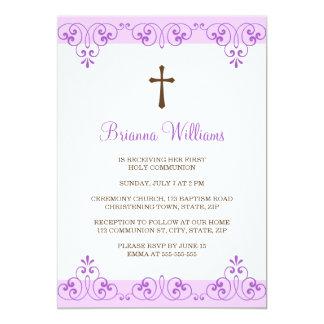 Elegant violet lace damask first communion invite
