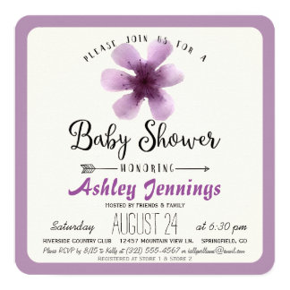 Elegant Violet Purple Floral Baby Shower 13 Cm X 13 Cm Square Invitation Card