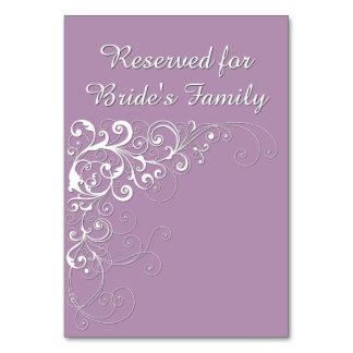 Elegant Violet Reserved Wedding Table Card