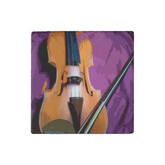 Elegant Violin on Purple Silk, Marble Stone Magnet