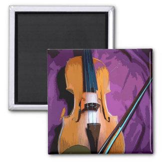 Elegant Violin on Purple Silk, Square Magnet
