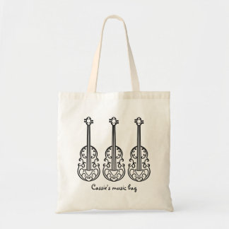Elegant violin pattern tote bag