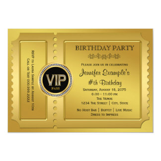 Elegant VIP Golden Ticket Birthday Party 13 Cm X 18 Cm Invitation Card