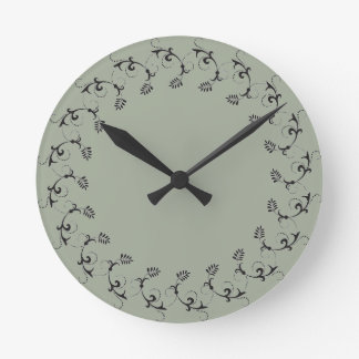 Elegant wall clock floral leaf pattern