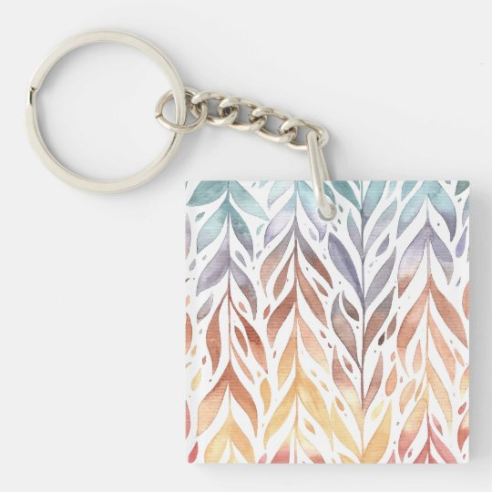 Elegant Watercolor Autumn Leaves | Keychain