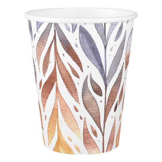 Elegant Watercolor Autumn Leaves | Paper Cups