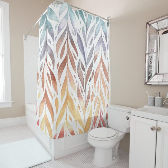 Elegant Watercolor Autumn Leaves | Shower Curtain