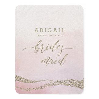 Elegant Watercolor Blush Will You Be Bridesmaid Card