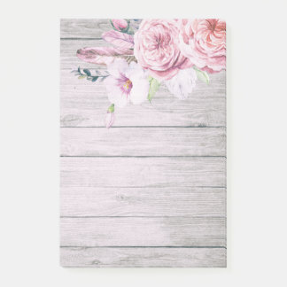 Elegant Watercolor Boho Floral Feather Rustic Wood Post-it Notes