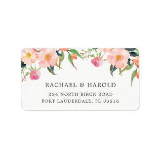 Elegant Watercolor Botanical Garden Floral Label
