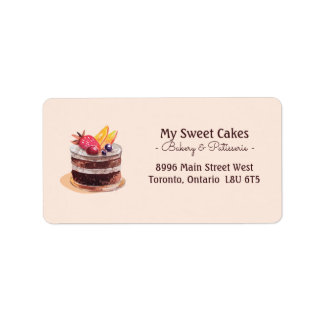 Elegant watercolor cake patisserie cupcake dessert address label
