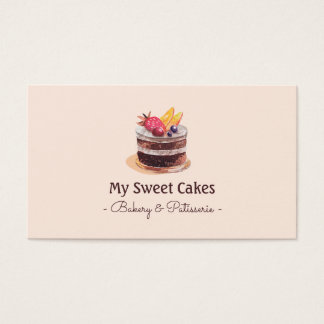 Elegant watercolor cake patisserie cupcake dessert business card