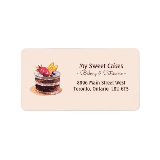 Elegant watercolor cake patisserie cupcake dessert label