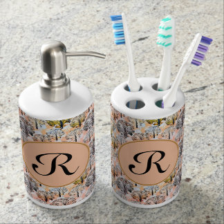Elegant watercolor design with custom monogram. soap dispenser and toothbrush holder